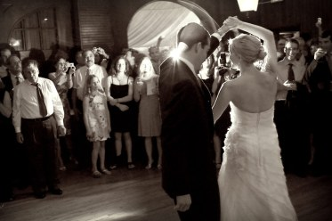 bride groom dancing reception wedding evergreen black and white